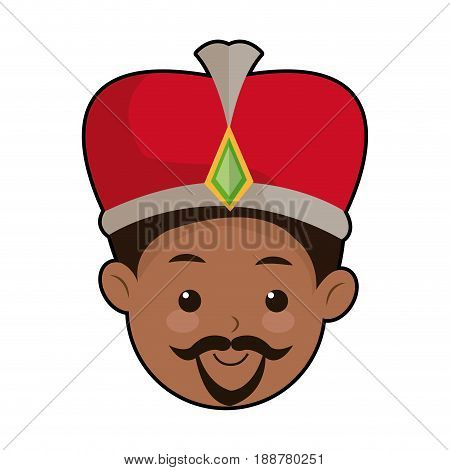 cute cartoon wise king manger character vector illustration