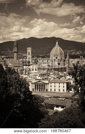 Duomo Santa Maria Del Fiore in Florence Italy viewed from mountain.