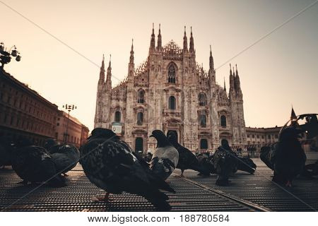 Cathedral Square or Piazza del Duomo in Italian is the center of Milan city in Italy.