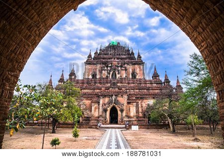 Ancient gate in Bagan temple, Myanmar. (Burma)