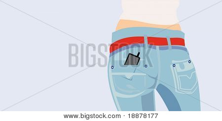 vector image of jeans with cellphone in pocket