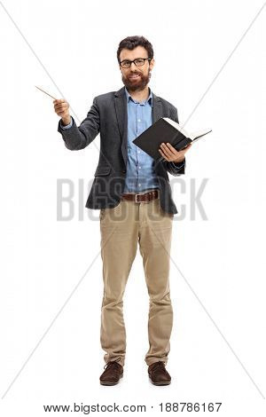 Full length portrait of a professor with a wooden stick and a book isolated on white background