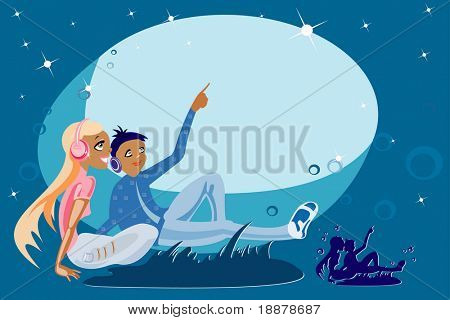 vector image of loving couple in the night