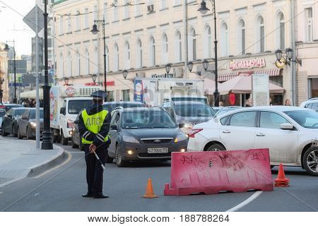 Moscow, Russia - May, 4, 2017: police officer in a center of Moscow