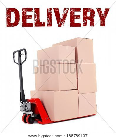 Delivery concept. Fork pallet truck with stack of cardboard boxes on white background
