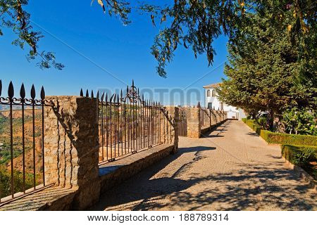 Sidewalk on the observation deck in a park in the city of Ronda, Andalusia, Spain