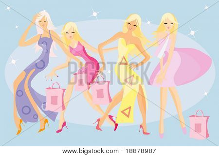 funny vector image of dancing girls after shopping