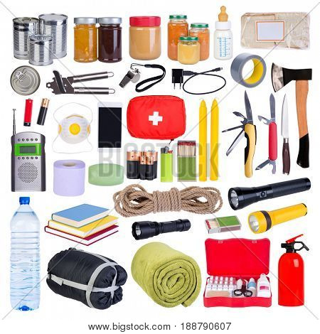 Objects useful in emergency situations such as natural disasters. Isolated on white background.