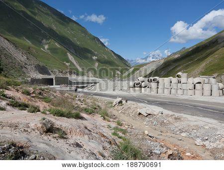 Reconstruction of the Georgian Military highway . Cross pass Gudauri, Republic of Georgia