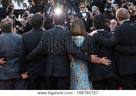 Salma Hayek, Francois-Henri Pinault,  Diego Luna attendsthe 70th Anniversary of the 70th annual Cannes Film Festival at Palais des Festivals on May 23, 2017 in Cannes, France.