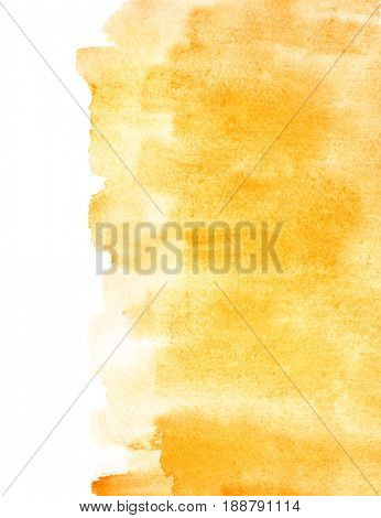Orange watercolor background with isolated edge