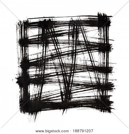 Square by black brush strokes isolated over the white background