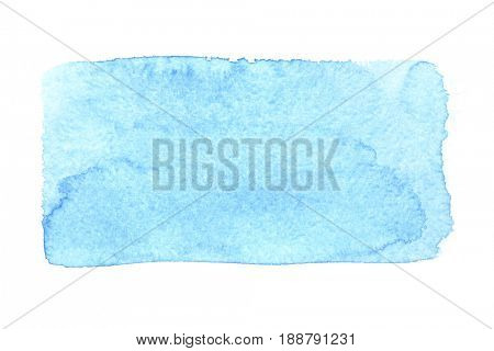 Blue uneven watercolor rectangle isolated over the white background