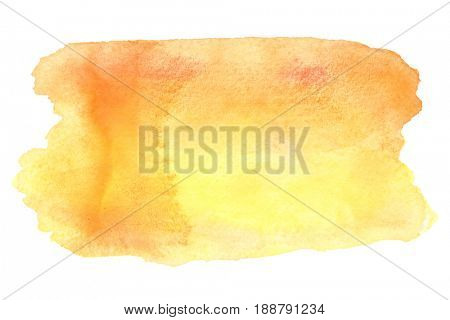 Yellow-orange watercolor brush strokes isolated over the white background
