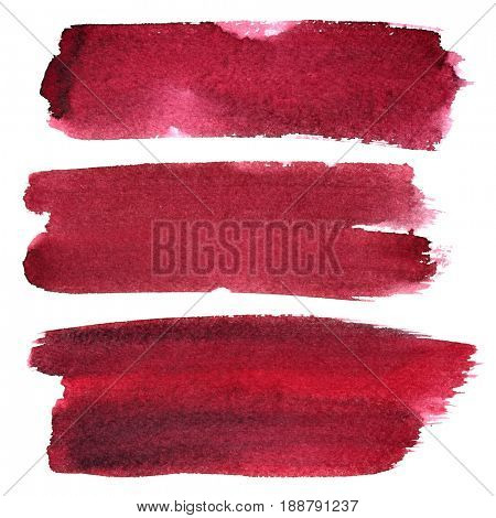 Set of dark red ink brush strokes isolated on the white background