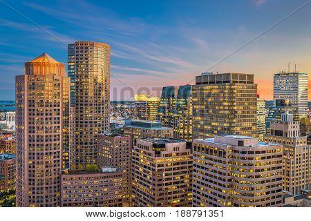 Boston, Massachusetts, USA financial district cityscape.