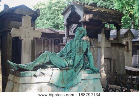 Sculpture in Montmartre Cemetery, Paris