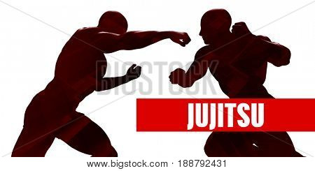 Jujitsu Class with Silhouette of Two Men Fighting 3D Illustration Render