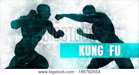 Kung fu Martial Arts Self Defence Training Concept 3D Illustration Render