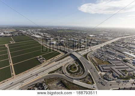 Aerial view of the Ventura 101 Freeway at Rice Ave in Oxnard, California.