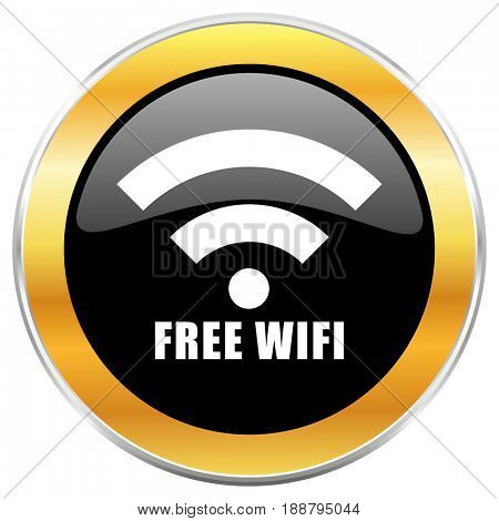 Free wifi black web icon with golden border isolated on white background. Round glossy button.