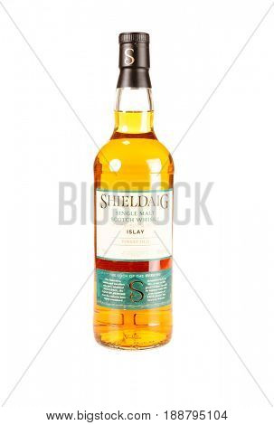 Colbert, WA - April 23, 2017: Bottle of Sheildaig Islay Single Malt Whisky isolated on white, illustrative editorial
