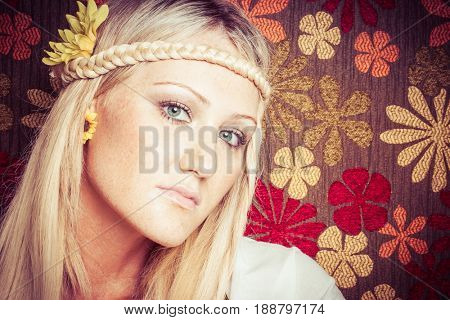 Beautiful young blond hippy woman