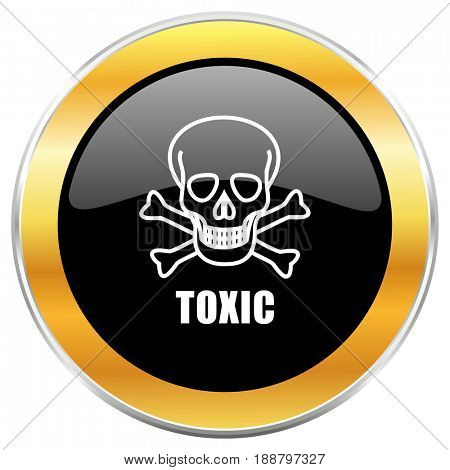 Toxic skull black web icon with golden border isolated on white background. Round glossy button.