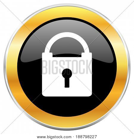 Padlock black web icon with golden border isolated on white background. Round glossy button.