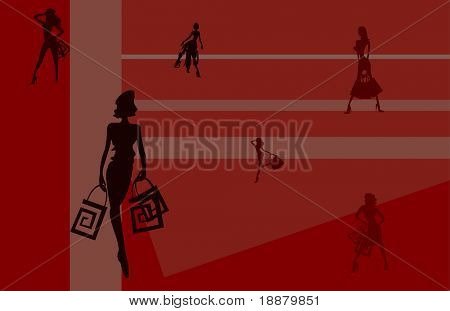 vector image of girls for shopping cards and posters background