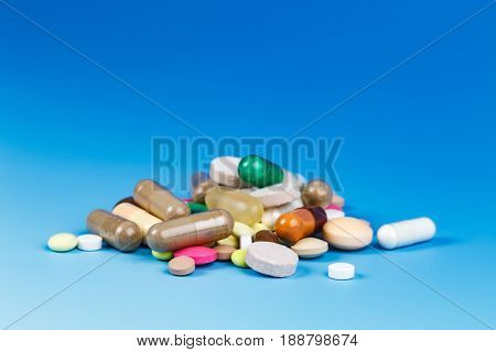 Tablets and capsules, vitamins, micro elements, analgesics and antibiotics