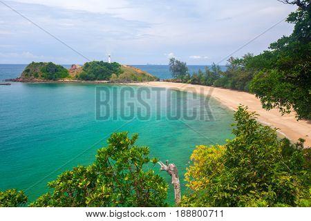 Lighthouse and beach. National Park of Koh Lanta, Krabi, Thailand