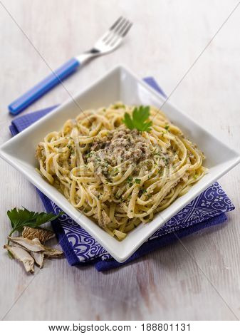 pasta with cep edible mushroom and anchovies; selective focus