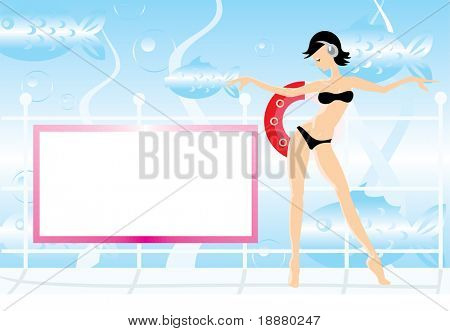 vector image of girl dancing on deck of submarine. there is blank area for your info