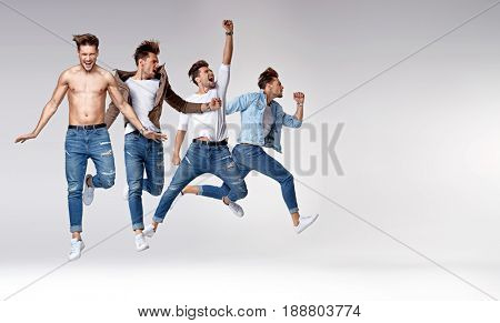 Multiple portrait of a jumping smart man