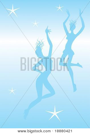 vector image of svelte dancers silhouettes