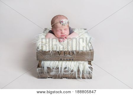 Sweet cute baby girl sleeping on her belly in rustic massive basket, on furry pillow