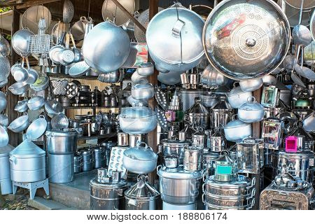 Shop full of kitchen utensils in Java Indonesia