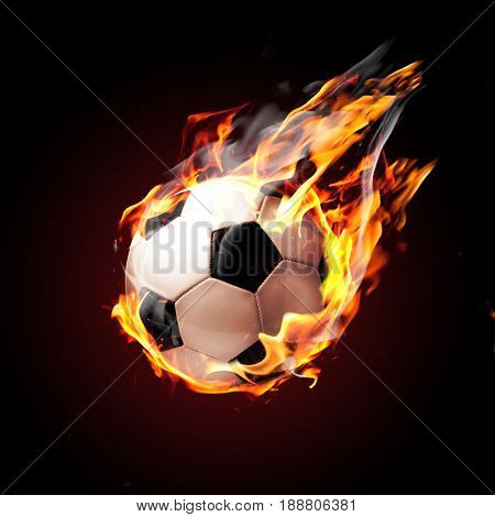 Soccer ball on fire flying on black background