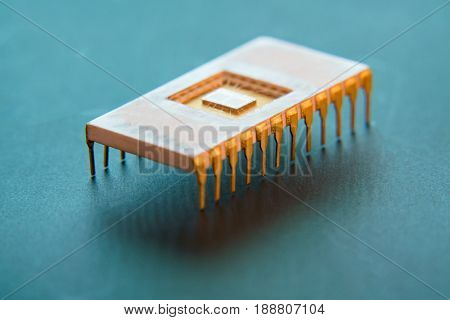 concept of quantum processor in ceramic body and Gold contacts