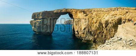 Azure window Gozo island. Malta. Azure Window was 28-metre-tall (92 ft)  stone natural arch on  island  Gozo in Malta.