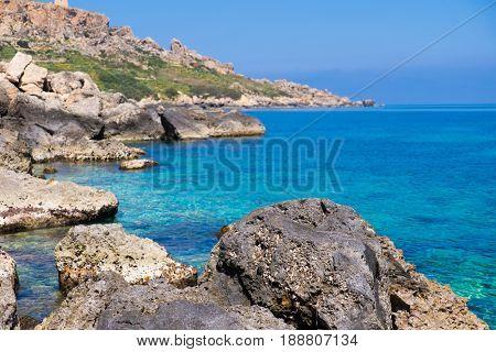 Sea stone coast    island  Gozo in Malta.