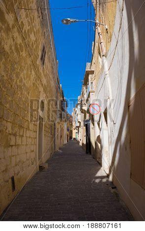 Street of Mgarr   on Gozo island. Malta
