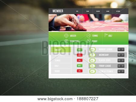 Digital composite of Betting App Interface tennis