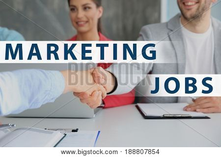 Marketing jobs concept. Business people shaking hands on meeting in office