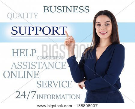 Help desk concept. Young woman pointing on word SUPPORT against white background