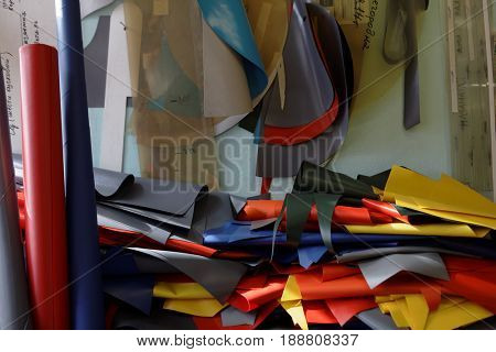 ST. PETERSBURG, RUSSIA - MARCH 27, 2017: Cuts of fabric for production of inflatable rafts on Time Trial company. Founded in 2000, now the company produces a wide assortment of sports equipment
