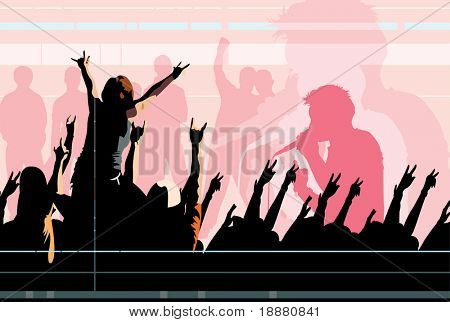 vector image of crowd of clubbing people