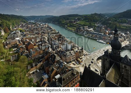 DINANT, BELGIUM - MAY 7, 2017: View to the valley of Meuse river from the citadel. The Mosane Citadels of Dinant, Namur and Huy are included in the tentative list of UNESCO World Heritage