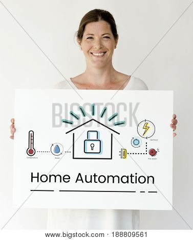 Woman holding illustration of smart house invention automation technology banner poster